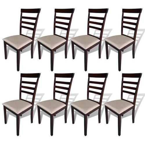 Krzesła do jadalni, 8 szt., drewniane, brązowo-kremowe