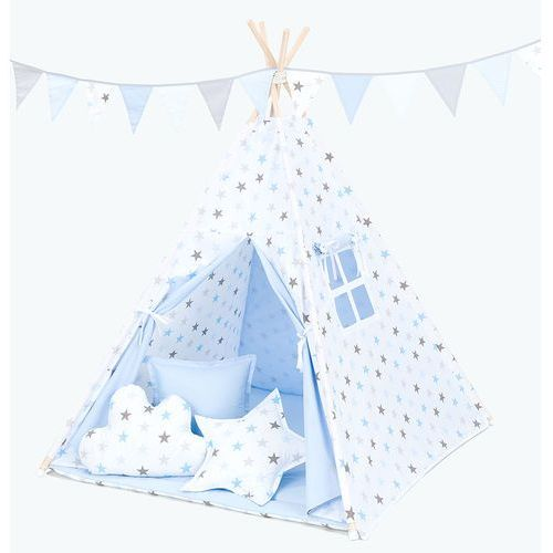 Mamo-tato namiot tipi z matą gwiazdki szare i niebieskie duże / jasny błękit