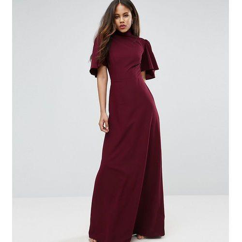 ASOS TALL Flutter Sleeve High Neck Maxi Dress - Red