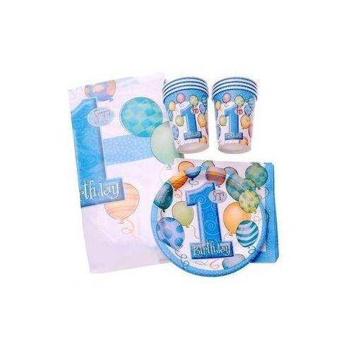Unique Zestaw na roczek dla chłopczyka 1st boy birthday baloniki blue - 25 elementów