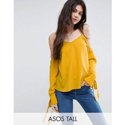 Asos tall  cold shoulder top with cuff and tie - yellow