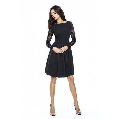Czarna Wizytowa Sukienka z Koronkowym Długim Rękawem, KM158bl