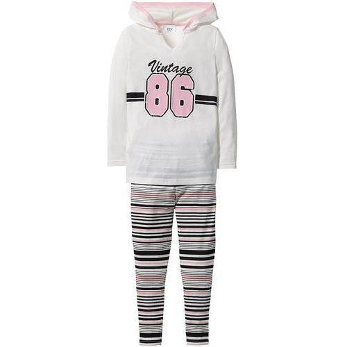 Bonprix Shirt z kapturem + legginsy (2 części)  czarno-biel wełny w paski, kategoria: legginsy dla dzieci