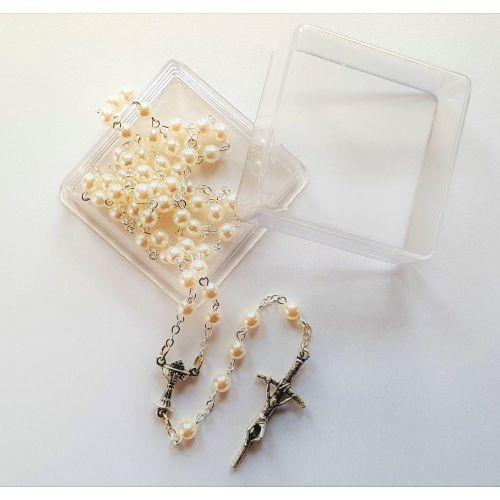 Różaniec szklany, perłowy 5 mm. do pierwszej komunii świętej. marki Produkt polski