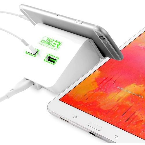 PURO Fast Dual-USB Charging Station - Uniwersalna sieciowa stacja ładująca 4.8 A, 2 x USB w/stand up (biały)
