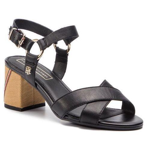 0e2a35b124e58 Sandały TOMMY HILFIGER - Elevated Leather Heeled Sandal FW0FW04072 Black 990