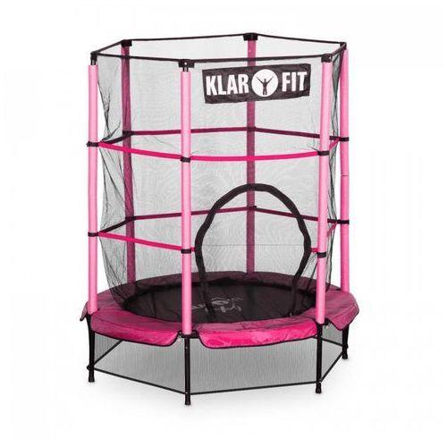 rocketkid trampolina 140cm siatka bezpieczeństwa wewnątrz, sprężyny bungee, różowa marki Klarfit