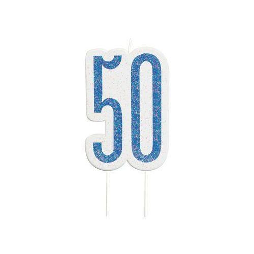 Brokatowa niebieska świeczka na 50-tke - 1 szt.