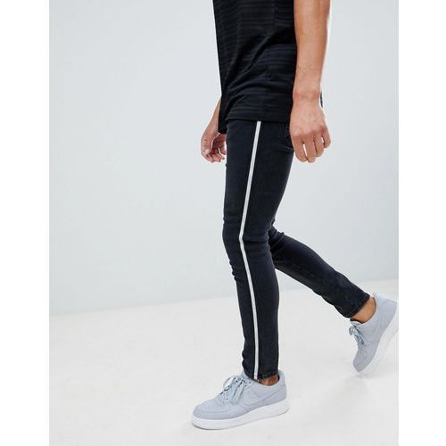 River Island skinny jeans with side stripe in black - Black, jeans