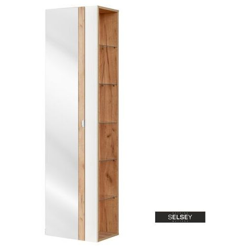 Selsey szafka wysoka ursala biała z lustrem (5903025398501)