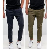 2 pack skinny chinos in khaki & navy save - multi, Asos