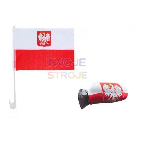 Twojestroje.pl Zestaw samochodowy kibica biało-czerwony 2 el.