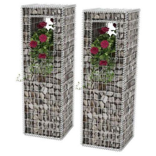 kosze gabionowe kolumny - donice, 2 szt., 50x50x160 cm marki Vidaxl