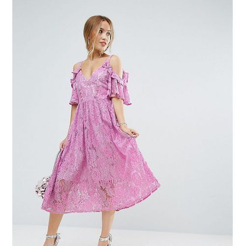 ASOS PETITE Pink Lace Midi Dress with Eyelet Tape - Pink, kolor różowy