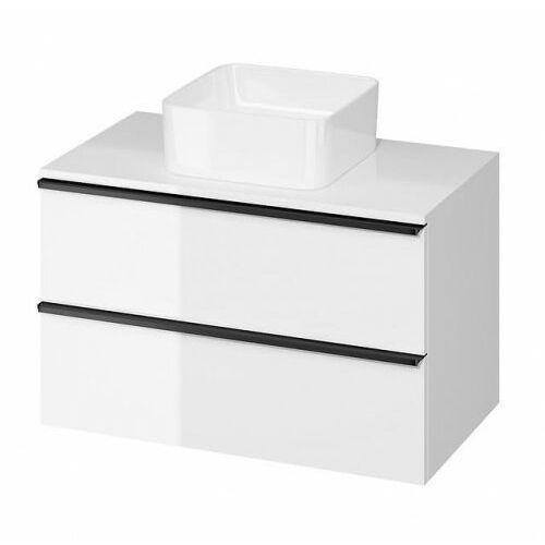 CERSANIT szafka Virgo 80 biała połysk pod umywalkę nablatową, czarne uchwyty S522-027 (5901771005513)