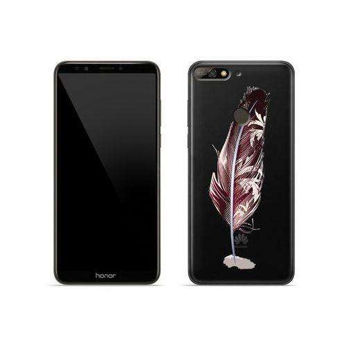 Huawei Honor 7C - etui na telefon Crystal Design - Bordowe pióro, kolor czerwony