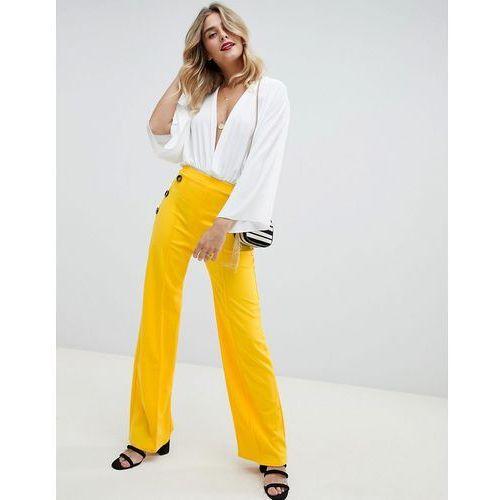 Boohoo Button Detail Wide Leg Trousers - Yellow, kolor żółty