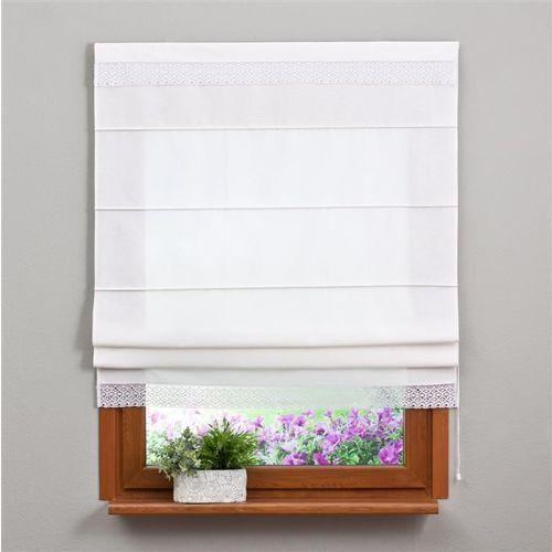 Dekoria Roleta rzymska z koronką, śmietankowa biel, 100 × 170 cm, Loneta - OKAZJE