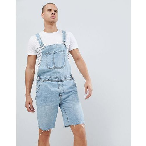 Bershka denim dungaree shorts in light blue - blue