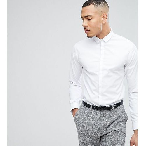 Noak TALL Skinny Shirt With Concealed Placket - White