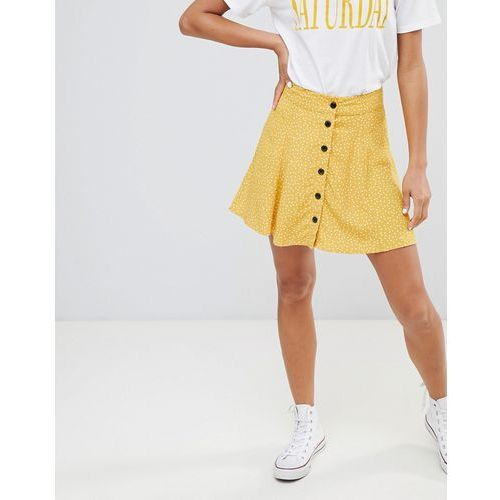 spot detail button front mini skirt in yellow - red, Bershka, 34-38