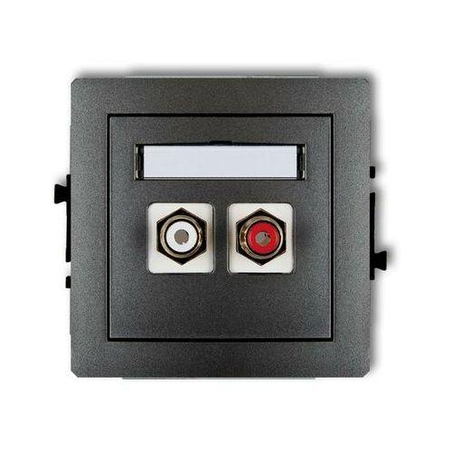 Gniazdo podwójne rca (cinch - biały i czerwony, pozłacany) 11dgrca-2, grafitowy deco marki Karlik