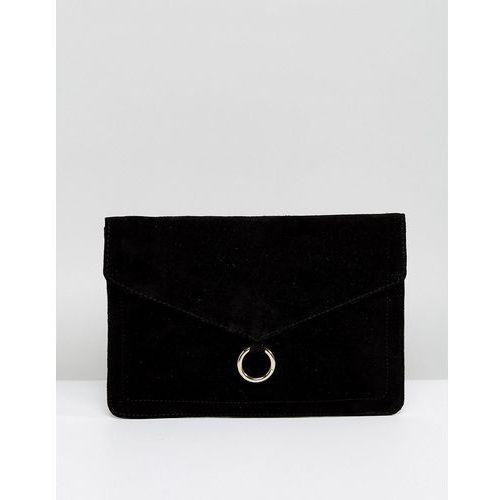 Asos design suede envelope clutch bag with ring detail - black