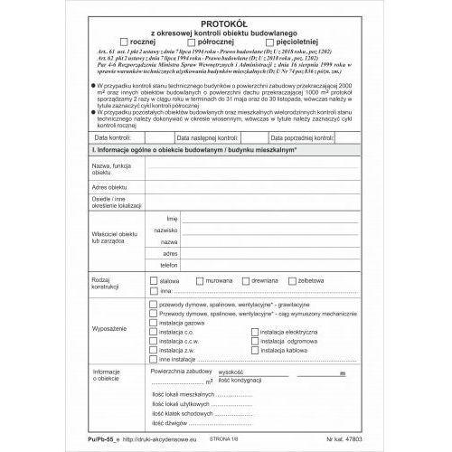 Firma krajewski Protokół z okresowej kontroli obiektu budowlanego [pu/pb-55] - wersja elektroniczna