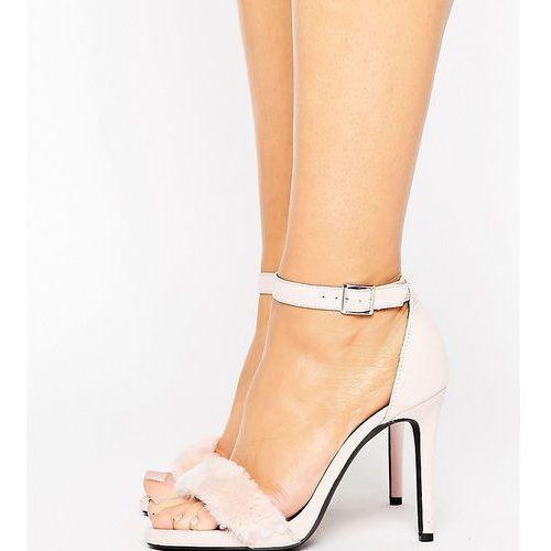 wide fit faux fur two part heeled sandal - beige marki New look