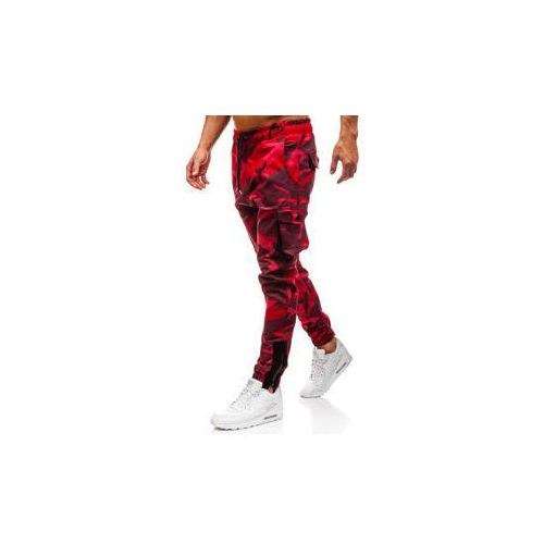 Spodnie męskie joggery bojówki moro-czerwone Denley 0705, bojówki