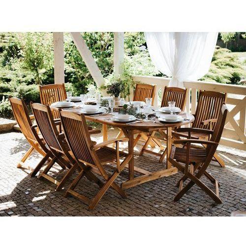 Stół ogrodowy drewniany jasnobrązowy 160/220 x 100 cm rozkładany MAUI (7105277992409)