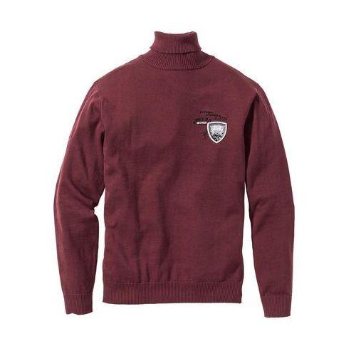 Sweter z golfem Regular Fit bonprix czerwony klonowy, bawełna