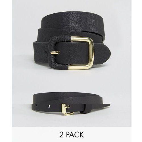 Asos design 2 pack skinny waist belt and jeans belt in water based pu - black