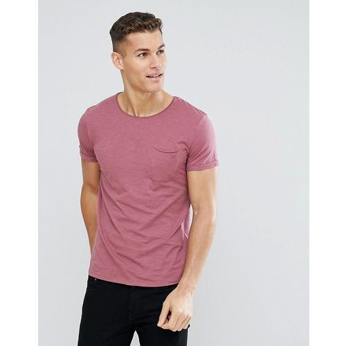 Tom tailor crew neck t-shirt with raw edge - pink