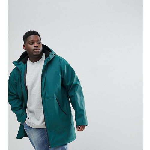 Asos plus shower resistant rain coat with borg lined hood in bottle green - green