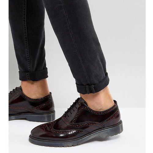 ASOS Wide Fit Derby Brogue Shoes In Burgundy Leather With Ribbed Sole - Red