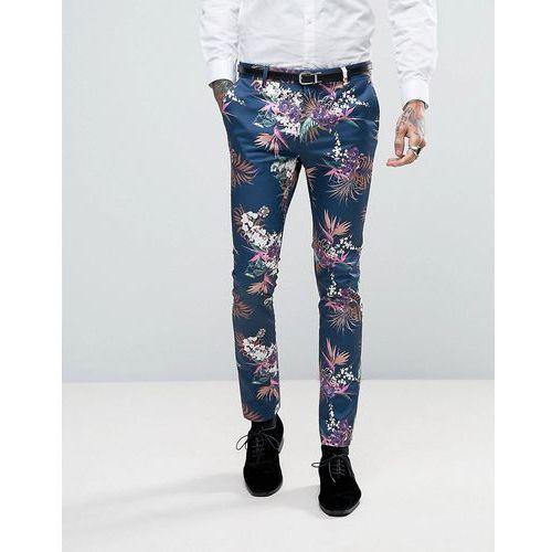 ASOS Super Skinny Suit Trousers In Blue Tropical Floral Print In Sateen - Navy