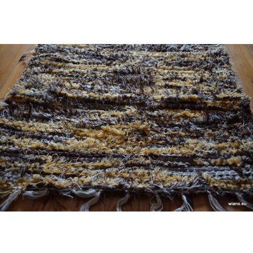 Twórczyni ludowa Chodnik bawełniany ręcznie tkany jasny, ciemny brąz- ecru 50x100 cm
