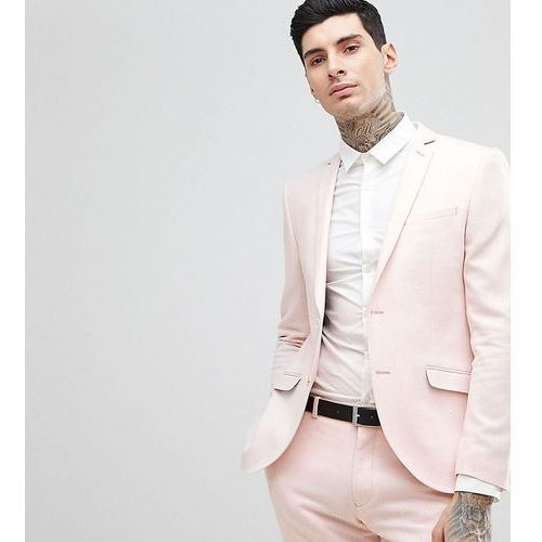 Heart & dagger skinny wedding suit jacket in herringbone tweed - pink