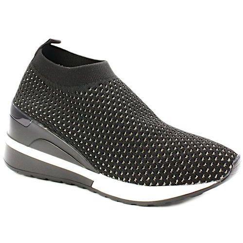 VENEZIA 18976 CZARNE ZŁOTE - Sneakersy sportowe, kolor czarny