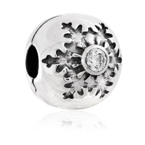 Murrano Charms klips srebrny krople mokoszy śnieżynki