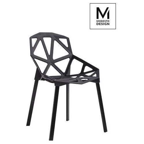 Modesto krzesło split mat czarne - polipropylen, podstawa metalowa marki Modesto design