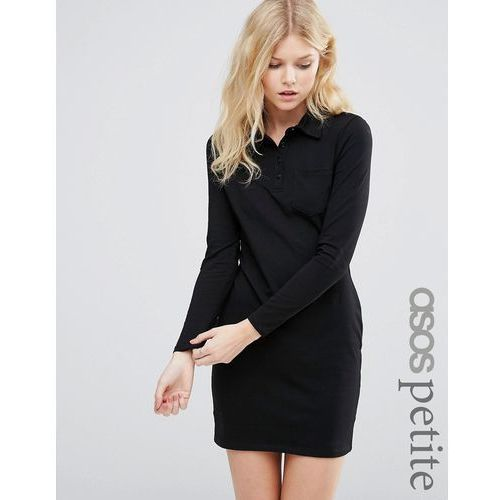 ASOS PETITE Long Sleeve Polo Shirt Dress - Black, ASOS Petite