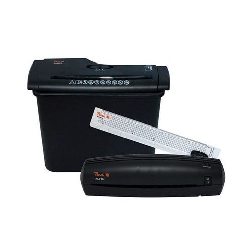 Zestaw office kit PEACH PBP200 4in1 - niszczarka laminator trymer oraz folia do laminacji