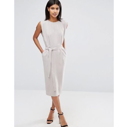 belted midi dress with split cap sleeve and pencil skirt - grey, Asos