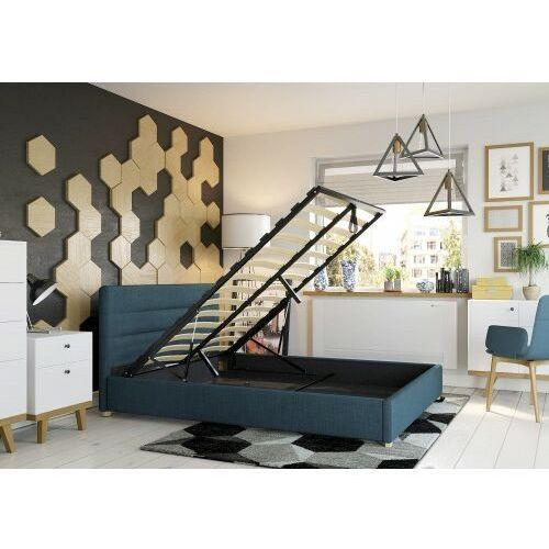 Łóżko 140x200 tapicerowane monza + pojemnik + materac sawana lazurowe marki Big meble