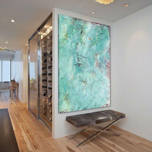 Obraz na ścianę do salonu z grubą strukturą akrylową - Błękit i akcenty