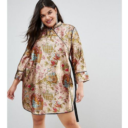 ASOS CURVE Chinoiserie Mini Wrap Dress with Tipping - Multi