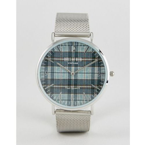 inspired check mesh watch in silver exclusive to asos - silver marki Reclaimed vintage