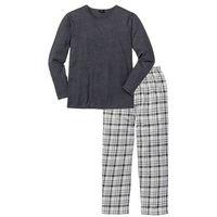 Piżama bonprix antracytowy melanż w kratę, w 3 rozmiarach
